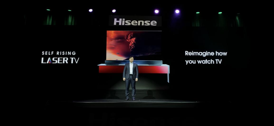 """可卷曲:2020CES海信激光电视推出新""""pose""""-视听圈"""